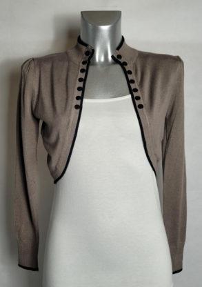 veste boléro femme chic taupe liseré noir